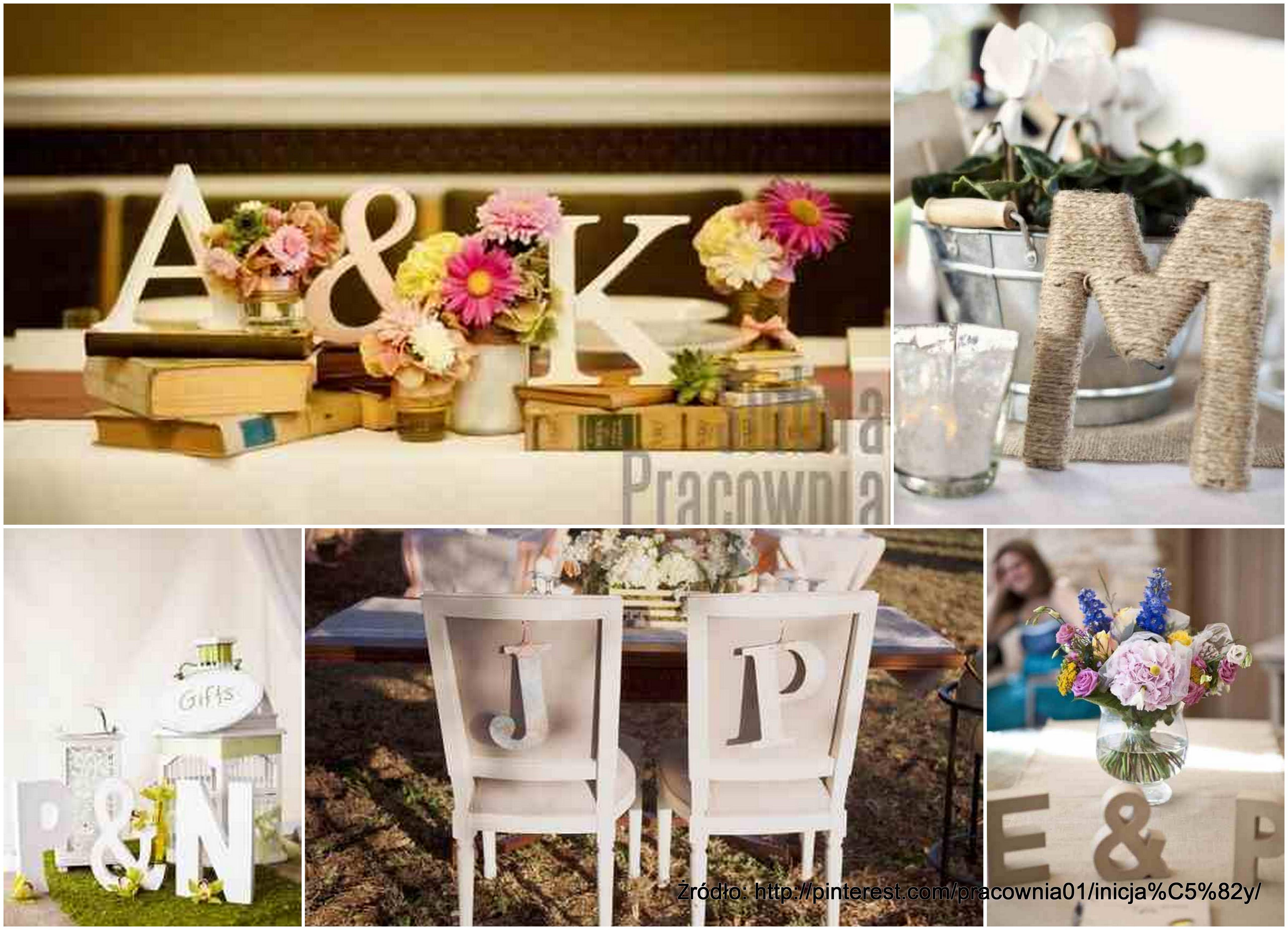 Dekoracje Stolow Inicjaly Blog ślubny ślubna Pracownia