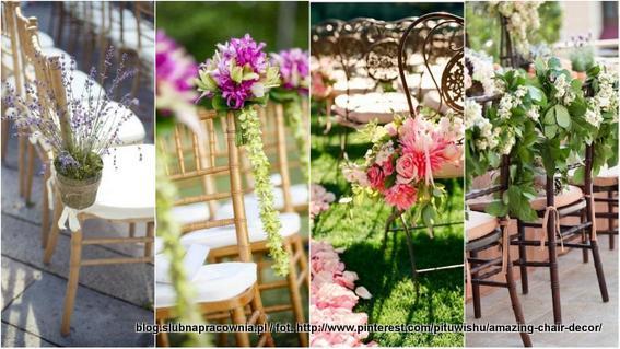 krzesła dekoracje z kwiatów