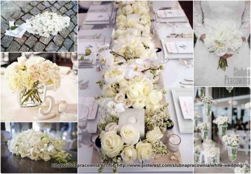 białe kwiaty wesele