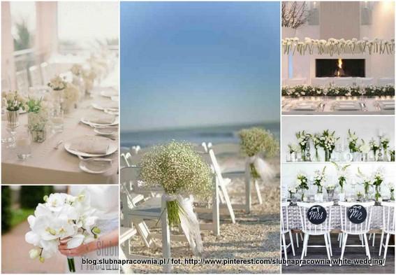 białe kwiaty ślub