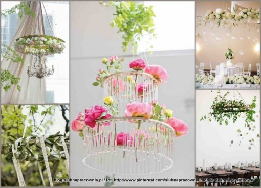 dekoracje z wiszących kwiatów
