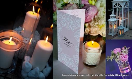 dekoracja ze świec wesele