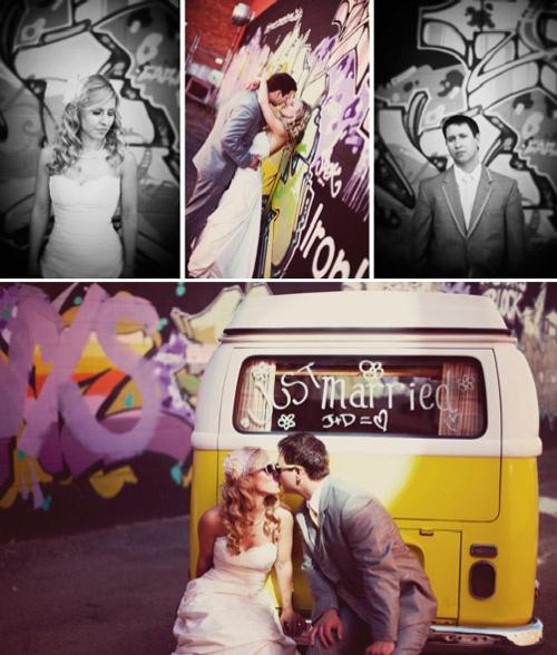 sesja ślubna mural