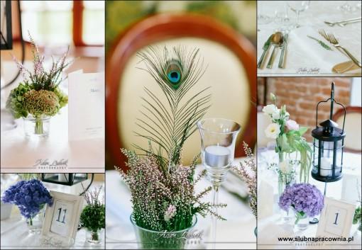 wesele dekoracje pawie pióro