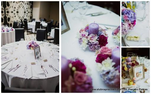 dekoracje wesele fiolet